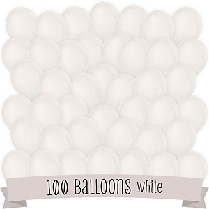 White - Party Latex Balloons - 100 ct