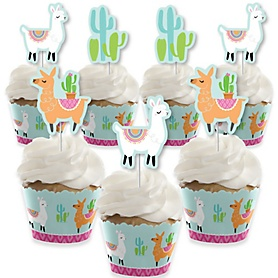 Whole Llama Fun - Cupcake Decorations - Llama Fiesta Baby Shower or Birthday Party Cupcake Wrappers and Treat Picks Kit - Set of 24