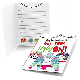 Wild and Ugly Sweater Party - Fill In Holiday and Christmas Animals Party Invitations - 8 ct