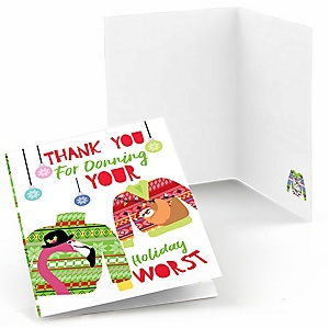 Wild and Ugly Sweater Party - Holiday and Christmas Animals Party Thank You Cards  - 8 ct