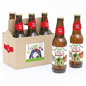 Wild and Ugly Sweater Party - Holiday and Christmas Animals Party - Decorations for Women and Men - 6 Beer Bottle Label Stickers and 1 Carrier