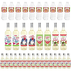 Wild and Ugly Sweater Party - Mini Wine Bottle Labels, Wine Bottle Labels and Water Bottle Labels -Holiday and Christmas Animals Party Decorations - Beverage Bar Kit - 34 Pieces