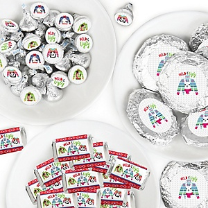 Wild and Ugly Sweater Party - Mini Candy Bar Wrappers, Round Candy Stickers and Circle Stickers - Holiday and Christmas Animals Party Candy Favor Sticker Kit - 304 Pieces
