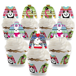Wild and Ugly Sweater Party - Cupcake Decoration -Holiday and Christmas Animals Party Cupcake Wrappers and Treat Picks Kit - Set of 24