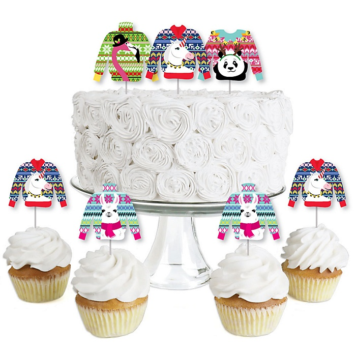 Wild and Ugly Sweater Party - Dessert Cupcake Toppers - Holiday and Christmas Animals Party Clear Treat Picks - Set of 24