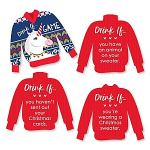 Drink If - Wild and Ugly Sweater Party - Holiday and Christmas Animals Party Game - Set of 24