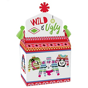 Wild and Ugly Sweater Party - Treat Box Party Favors -Holiday and Christmas Animals Party Goodie Gable Boxes - Set of 12