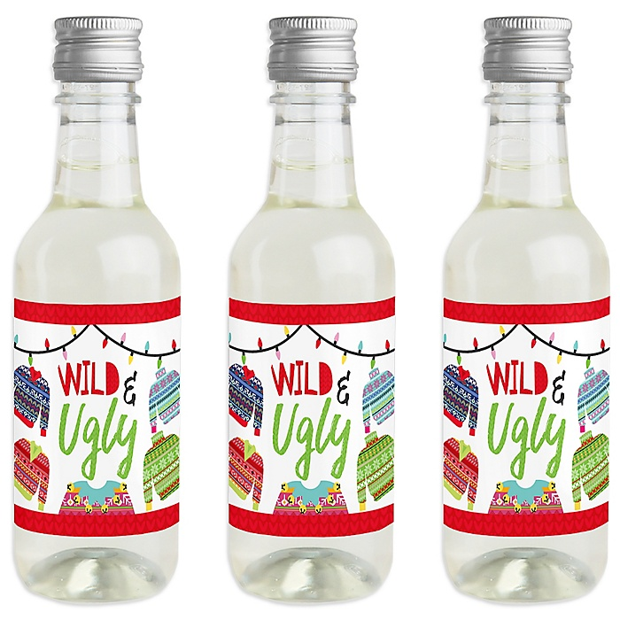 Wild and Ugly Sweater Party - Mini Wine and Champagne Bottle Label Stickers - Holiday and Christmas Animals Party Favor Gift - For Women and Men - Set of 16