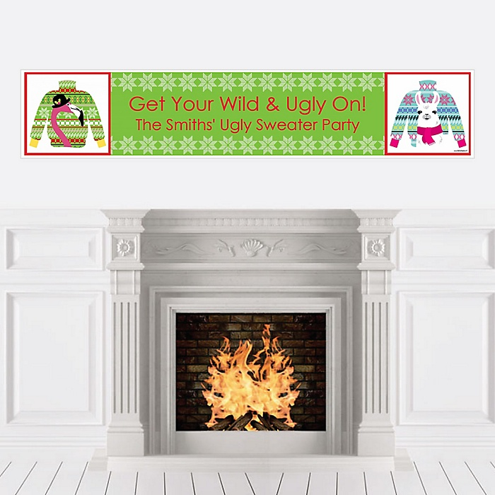 Wild and Ugly Sweater Party - Personalized Holiday and Christmas Animals Party Banner
