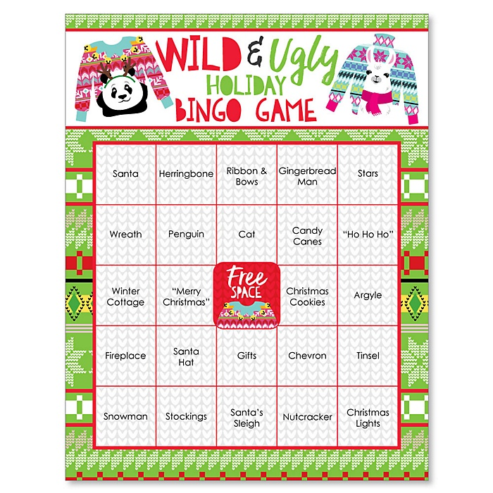 Wild and Ugly Sweater Party - Holiday and Christmas Animals Party Bingo Game and Bar Bingo Game Cards - 16 Count