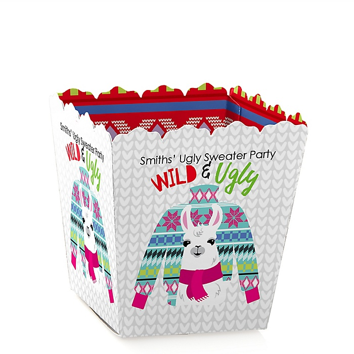 Wild and Ugly Sweater Party - Party Mini Favor Boxes - Personalized Holiday and Christmas Animals Party Treat Candy Boxes - Set of 12
