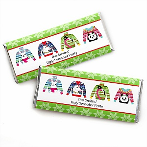 Wild and Ugly Sweater Party - Personalized Candy Bar Wrapper Holiday and Christmas Animals Party Favors - Set of 24