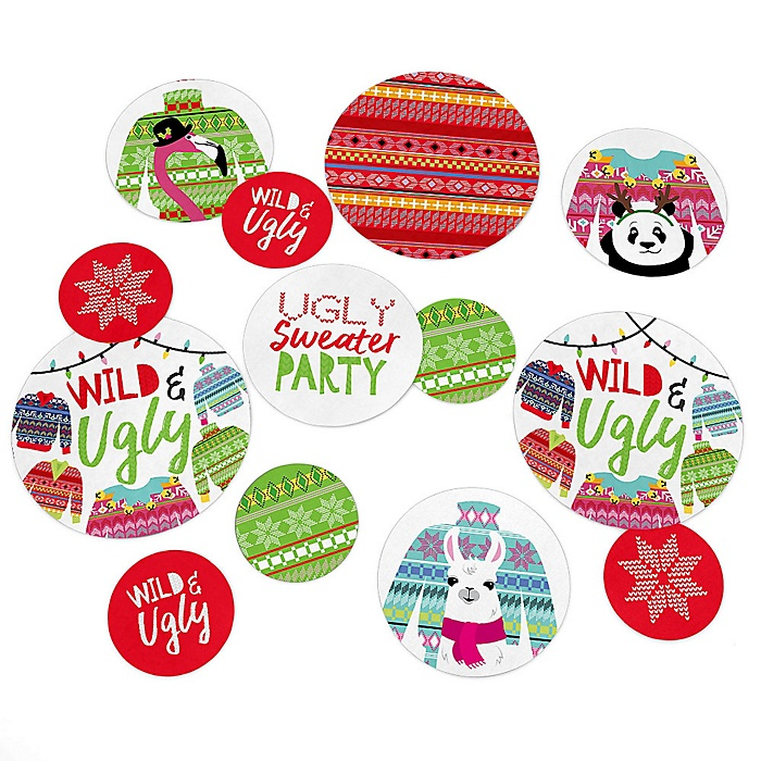 Wild and Ugly Sweater Party - Holiday and Christmas Animals Party Giant Circle Confetti - Party Decorations - Large Confetti 27 Count