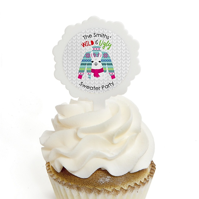 Wild and Ugly Sweater Party - Cupcake Picks with Personalized Stickers - Holiday and Christmas Animals Party Cupcake Toppers - 12 ct