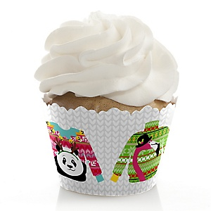 Wild and Ugly Sweater Party - Holiday and Christmas Animals Party Decorations - Party Cupcake Wrappers - Set of 12