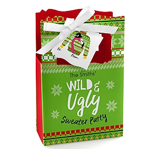 Wild and Ugly Sweater Party - Holiday and Christmas Animals Party Gift Favor Boxes - Set of 12