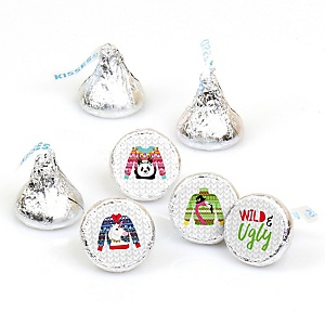 Wild and Ugly Sweater Party - Round Candy Labels Holiday and Christmas Animals Party Favors - Fits Hershey Kisses - 108 ct