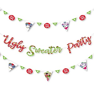 Wild and Ugly Sweater Party - Holiday and Christmas Animals Party Letter Banner Decoration - 36 Banner Cutouts and Wild and Ugly Sweater Party Banner Letters