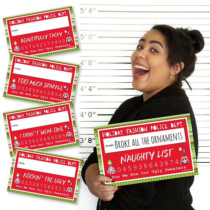 Wild and Ugly Sweater Party - Holiday and Christmas Animals Party Mug Shots - 20 Piece Photo Booth Props Kit