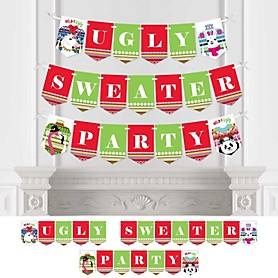Wild and Ugly Sweater Party - Personalized Holiday and Christmas Animals Party Bunting Banner & Decorations