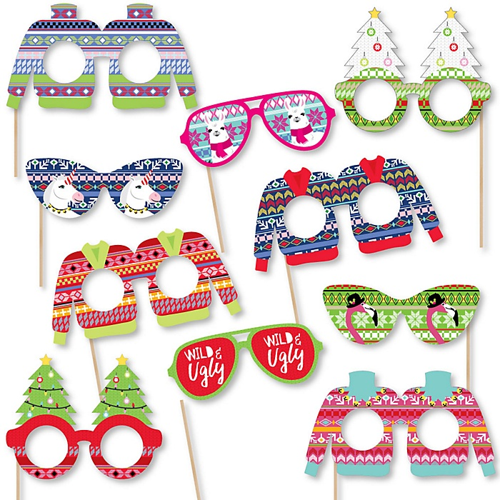 Wild and Ugly Sweater Party Glasses and Masks - Paper Card Stock Holiday and Christmas Animals Party Photo Booth Props Kit - 10 Count