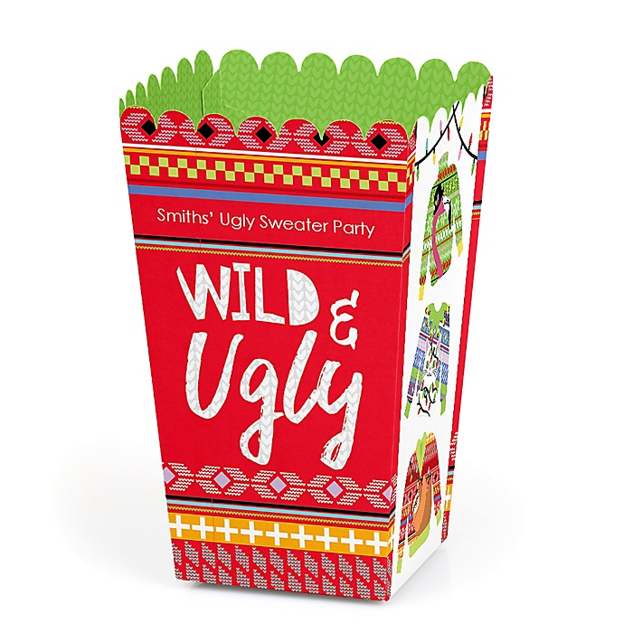 Wild and Ugly Sweater Party - Personalized Holiday and Christmas Animals Party Popcorn Favor Treat Boxes - Set of 12