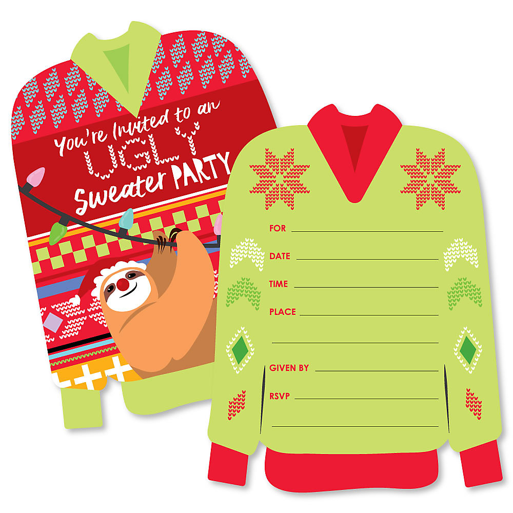 Ugly Christmas Sweater Party Invite.Wild And Ugly Sweater Party Shaped Fill In Invitations Holiday And Christmas Animals Party Invitation Cards With Envelopes Set Of 12