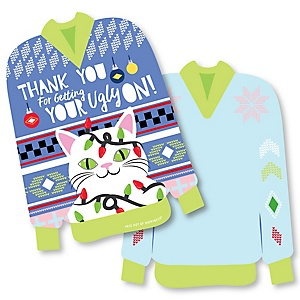 Wild and Ugly Sweater Party - Shaped Thank You Cards -Holiday and Christmas Animals Party Thank You Note Cards with Envelopes - Set of 12