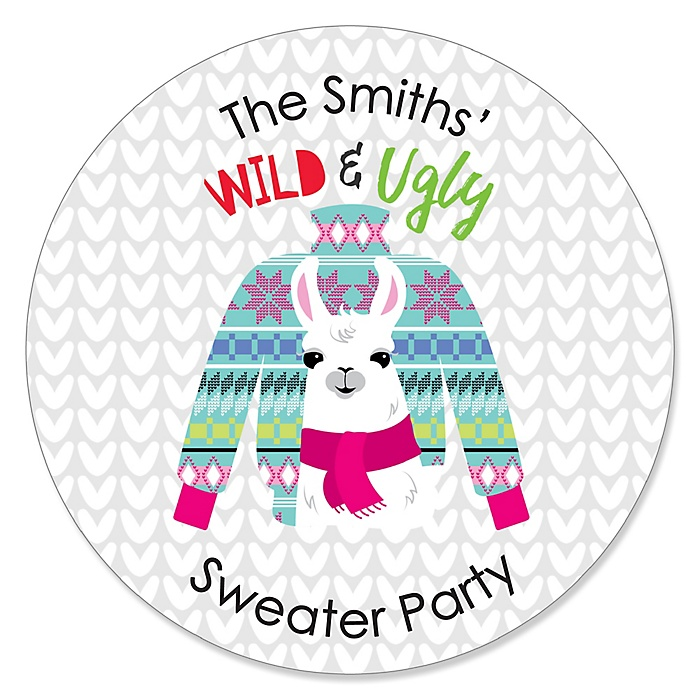 Wild and Ugly Sweater Party - Round Personalized Holiday and Christmas Animals Party Sticker Labels - 24 ct
