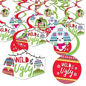 Wild and Ugly Sweater Party -Holiday and Christmas Animals Party Hanging Decor - Party Decoration Swirls - Set of 40