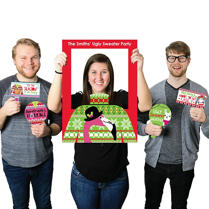 Wild and Ugly Sweater Party - Personalized Holiday and Christmas Animals Party Selfie Photo Booth Picture Frame & Props - Printed on Sturdy Material