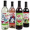 Wild and Ugly Sweater Party - Holiday and Christmas Animals Party Wine Bottle Label Stickers - Set of 4