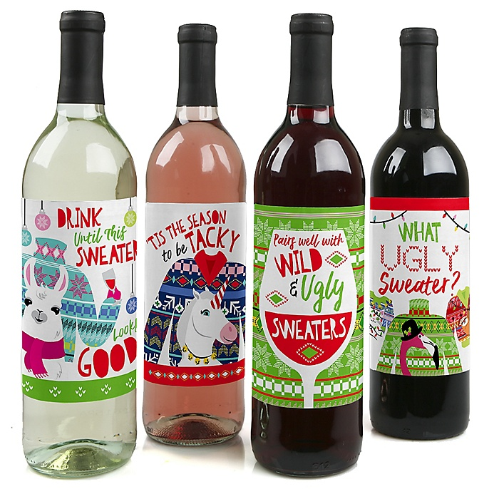 Wild and Ugly Sweater Party - Holiday and Christmas Animals Party Decorations for Women and Men - Wine Bottle Label Stickers - Set of 4
