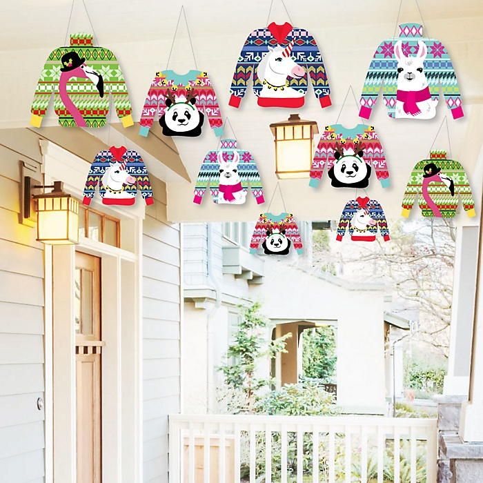 Hanging Wild and Ugly Sweater Party - Outdoor Holiday and Christmas Animals Party Hanging Porch & Tree Yard Decorations - 10 Pieces