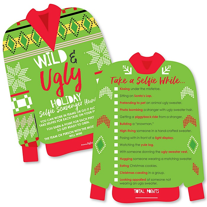 Wild and Ugly Sweater Party - Selfie Scavenger Hunt - Holiday and Christmas Animals Party Game - Set of 12