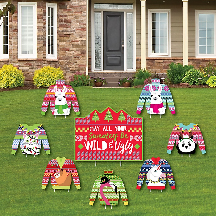Wild and Ugly Sweater Party - Yard Sign & Outdoor Lawn Decorations - Holiday and Christmas Animals Party Yard Signs - Set of 8