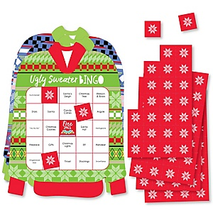 Wild and Ugly Sweater Party - Bar Bingo Cards and Markers - Holiday and Christmas Animals Party Shaped Bingo Game - Set of 18