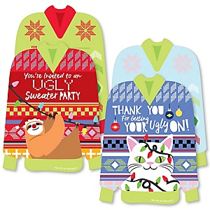 Wild and Ugly Sweater Party - 20 Shaped Fill-In Invitations and 20 Shaped Thank You Cards Kit -Holiday and Christmas Animals Party Stationery Kit - 40 Pack