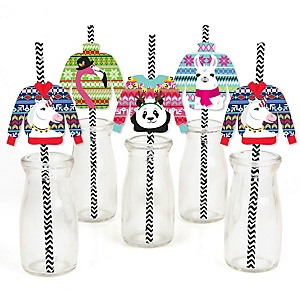 Wild and Ugly Sweater Party - Paper Straw Decor - Holiday and Christmas Animals Party Striped Decorative Straws - Set of 24