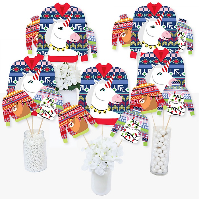 Wild and Ugly Sweater Party - Holiday and Christmas Animals Party Centerpiece Sticks - Table Toppers - Set of 15