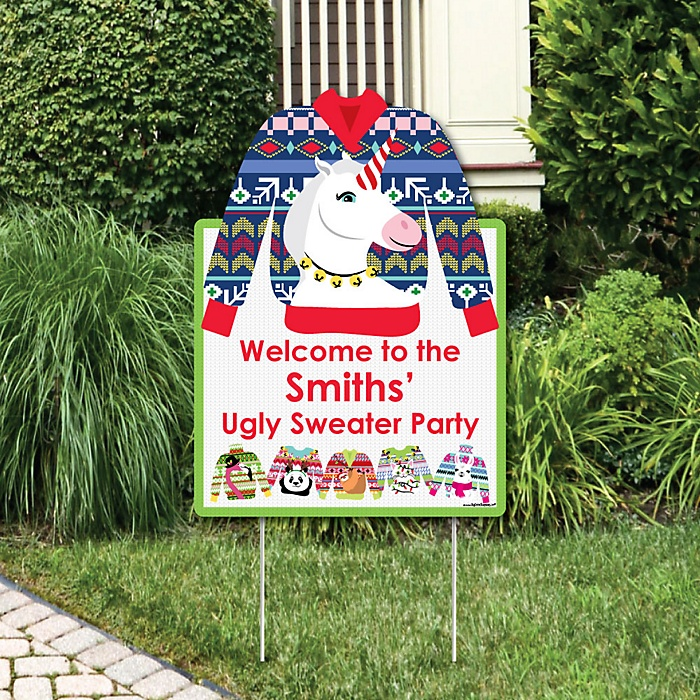 Wild and Ugly Sweater Party - Party Decorations - Holiday and Christmas Animals Party Personalized Welcome Yard Sign