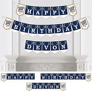 He's a Wild One - Personalized Birthday Party Bunting Banner and Decorations