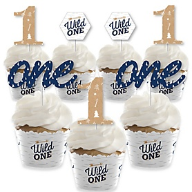 He's a Wild One - Cupcake Decoration - 1st Birthday Party Cupcake Wrappers and Treat Picks Kit - Set of 24