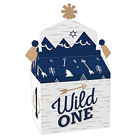 He's a Wild One - Treat Box Party Favors - Deer 1st Birthday Party Goodie Gable Boxes - Set of 12