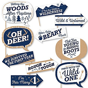 Funny He's a Wild One - 10 Piece Deer 1st Birthday Party Photo Booth Props Kit