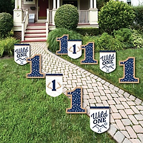 He's a Wild One - Lawn Decorations - Outdoor Deer 1st Birthday Party Yard Decorations - 10 Piece