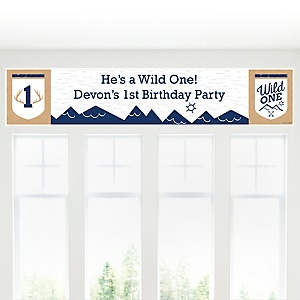 He's a Wild One - Personalized Deer 1st Birthday Party Banner