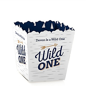 He's a Wild One - Party Mini Favor Boxes - Personalized 1st Birthday Party Treat Candy Boxes - Set of 12