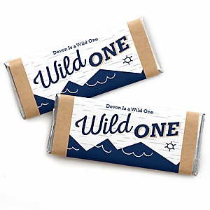 He's a Wild One - Personalized Candy Bar Wrapper 1st Birthday Party Favors - Set of 24