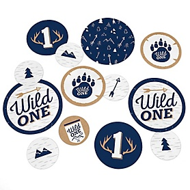 He's a Wild One - Deer 1st Birthday Party Giant Circle Confetti - Party Decorations - Large Confetti 27 Count